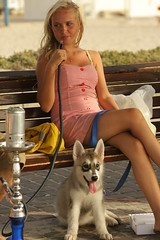 Cute girl and her dog in kiryat haim (avibenzaken) Tags: dog cute girl israel nice husky haifa siberian  haim kiryat          ch       qrayot      sberskur
