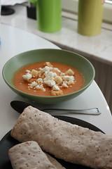 Efter- soppa med fänkål och tomat samt laxwrap