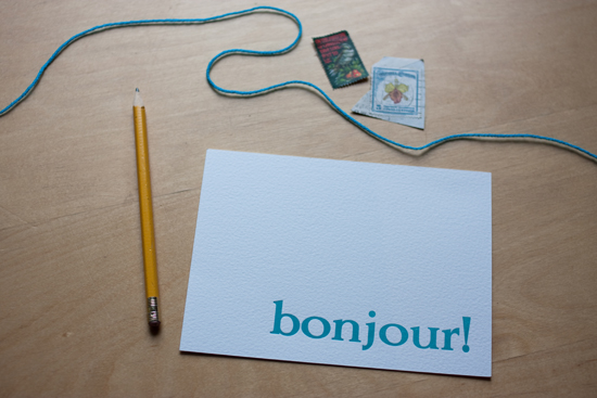 correspondence : bonjour!