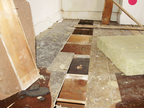 living room makeover - BEFORE PICTURES - underfloor soundproofing in progress