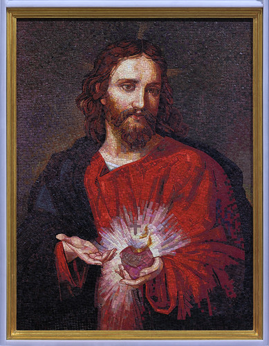 Mosaic of the the Sacred Heart of Jesus, at the Cathedral Basilica of Saint Louis, in Saint Louis, Missoui, USA