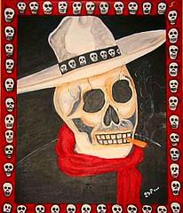 The skeleton cowboy with frame (Carolann Espino) Tags: art skeleton smoking sombrero marijuana skeletoncowboy diadelosmuertoscaricature