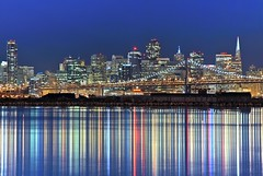 citadin (pbo31) Tags: sf sanfrancisco california above city longexposure bridge blue light urban usa color reflection water northerncalifornia skyline night dark island lights bay lowlight nikon october downtown cityscape view over baybridge bayarea vista reflective sanfranciscobay eastbay d200 80 alameda range 2009 alamedacounty coloursplosion picsforiphone1009