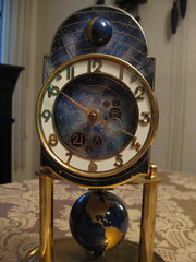 """Kaiser """"Universe"""" 400-day clock (IMG_5998) (Spaceman Spiff, intergalactic explorer!) Tags: west clock germany four globe day earth anniversary german hundred 400 kaiser universe pendulum clocks torsion jkaiser 400day"""