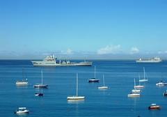 Barbados Blues 2 (NigelDurrant) Tags: blue sea sky boats island navy barbados caribbean yachts naval bridgetown warship antilles westindies  carlislebay