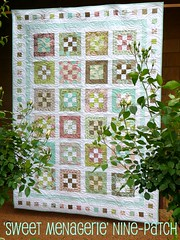 'Sweet Menagerie' nine-patch quilt (Bloom and Blossom) Tags: pink green aqua quilt pastel moda patchwork jellyroll ninepatch hushabye tulapink modabakeshop sweetmenagerie