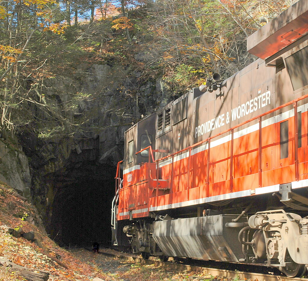 Providence & Worcester Engine enters the Taft Tunnel in Lisbon, Connecticut