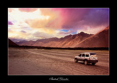 Driving into the Sunset (Amitesh Chandra) Tags: sunset india october september kashmir 2009 sanddunes ladakh snowcappedmountain krishlikesit amiteshchandra dewprismphotography humbledbythehimalayas