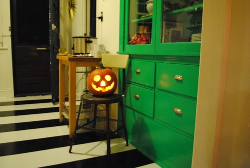 Green Cabinet with Jack O'Lantern and Striped Floor
