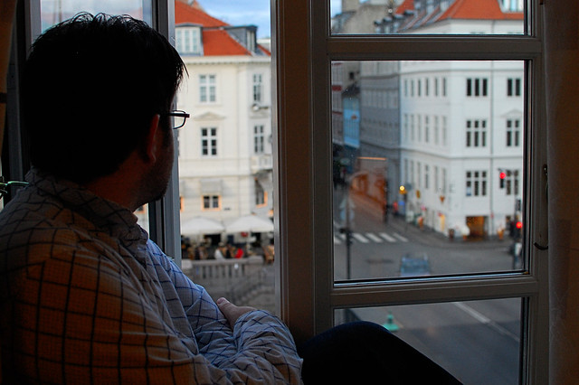 Honeymoon: Rob looks out at Nyhavn in Copenhagen, Denmark.