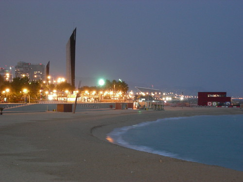 barcelona beach night. Barcelona beach at night.