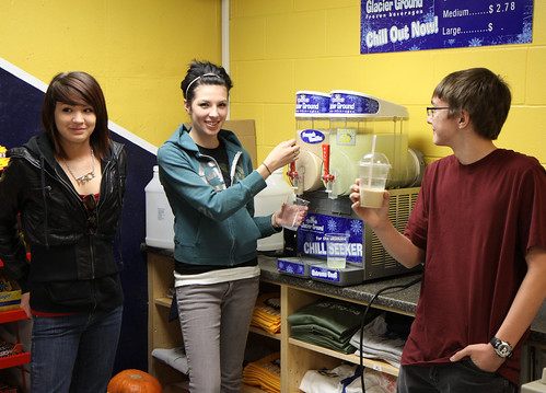 Eagles Nest staff trying out the new frozen drink machine.