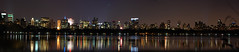 Downtown New York City Panoramic (Hi I'm Santi) Tags: park new york city nyc newyorkcity newyork reflection apple skyline night big manhattan central panoramic reservoir