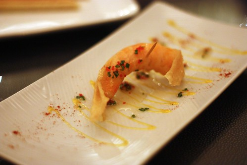 "Crispy Shrimp ""papillotte"" with Passion fruit, sweet chilli ginger sauce"