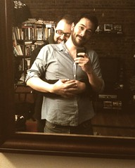 Back Together!! (Sion+Anton) Tags: reflection portraits happy mirror athome camerabag inlove backtogether gaymales antonkawasaki sionfullana 1974filter iphone3gs