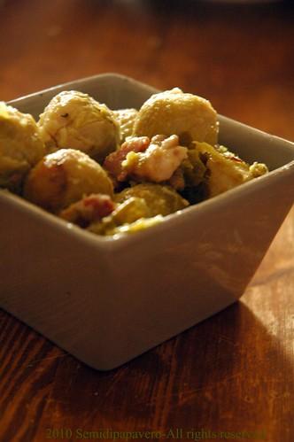 Cavolini, castagne e pancetta
