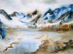 Watercolour:...Silence in Echo... (Nadia Minic) Tags: schnee winter snow mountains art water river painting landscape interestingness nadia aquarelle hiver echo berge silence neige luxembourg paysage landschaft montagnes minic lenningen nadiaart