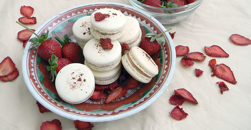 Strawberry Macarons with oven-dried strawberry