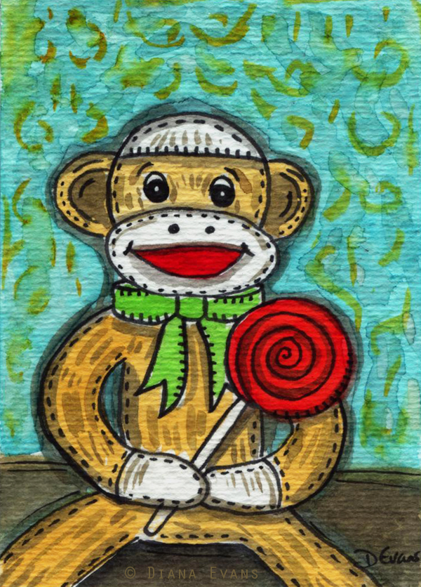 sock monkey watercolour