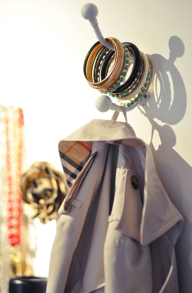 burberry trench and bangles on a hook