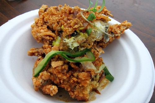 Krupuk crusted soft shell crab, Singapore style sauce, pickled shimeji and cucumber