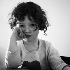 What? (Kerrie McSnap) Tags: friends boy portrait blackandwhite bw kids children square nikon child pout pascal d60