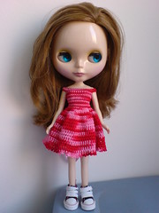 Ashley with a new handmade red tones dress