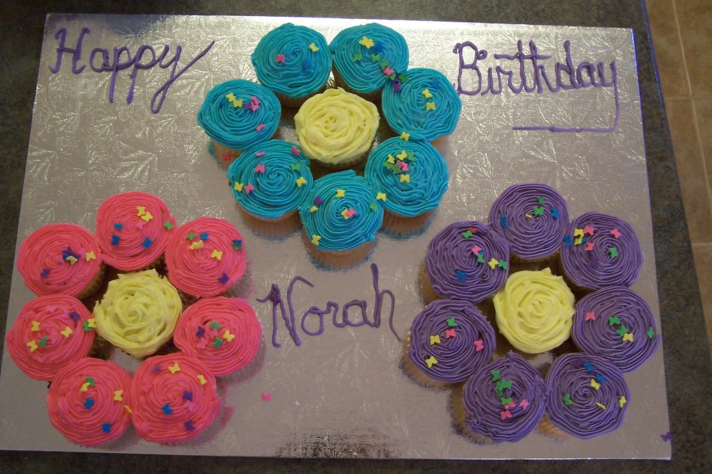 Cute And Easy Flower Birthday Cupcake Cakes