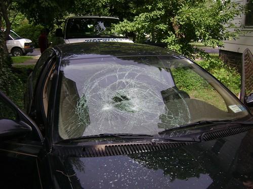 Smashed windshield