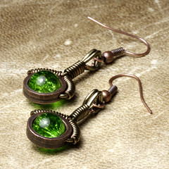 Steampunk Jewelry made by CatherinetteRings: Earrings with green glass bead (Catherinette Rings Steampunk) Tags: fiction canada fashion metal wire punk artist industrial mechanical quebec designer handmade montreal daniel victorian wrapped jewelry science bijoux retro steam jewellery fantasy copper scifi earrings organic etsy artisan geekery steampunk neovictorian futurist wirewrapped proulx catherinetterings danielproulx