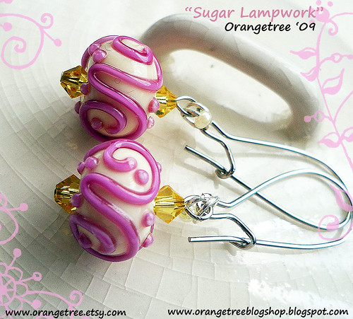 sugar lampwork earrings