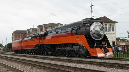 Visiting Southern Pacific steam locomotive # 4449 on display next to Historic Tower B-12. Franklin Park Illinois. Saturday, August 1st 2009. by Eddie from Chicago