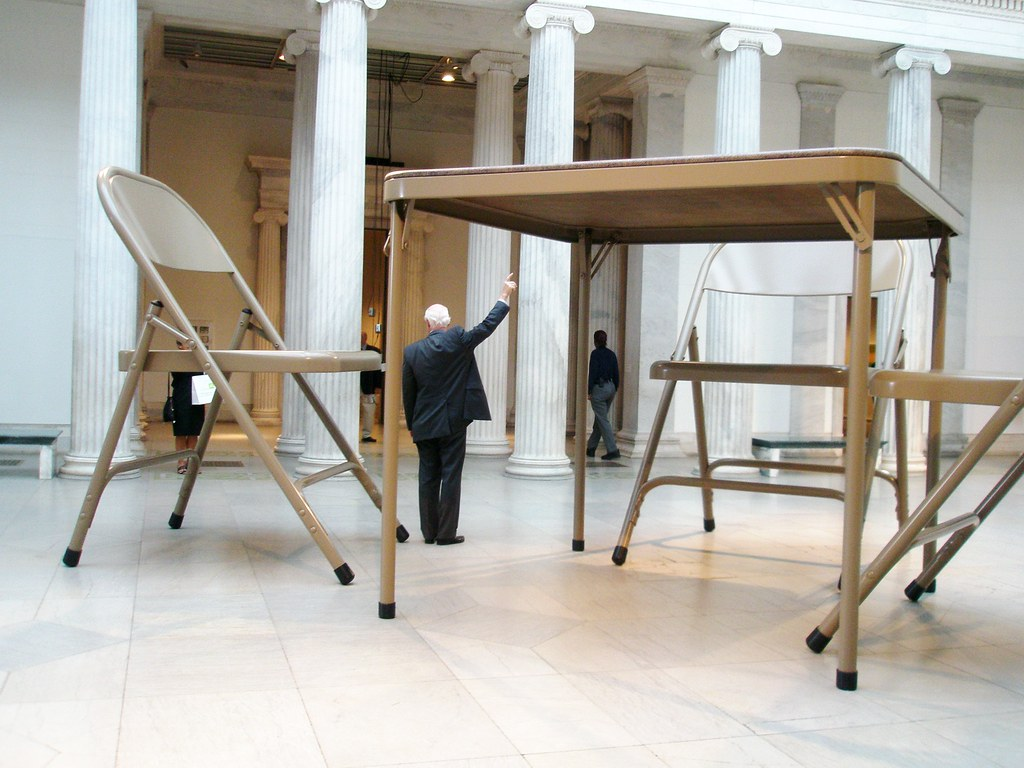 Robert Therrien 2006 'No Title' (Folding Table and Chairs), Albright-Knox Art Gallery, Buffalo NY