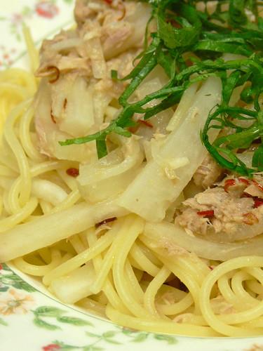 大根とツナのスパゲティ