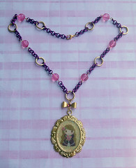 Collana  Princess (Kira83) Tags: pink fairytale gold purple oro princesss principessa vuola rosahandmadecreationscreazioniresinresinanecklacecollanependentimedaglioni