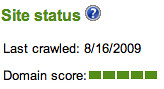 Bing Webmaster Tools Page score