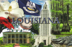 Louisiana Collage Postcard (crayolamom) Tags: usa collage la louisiana state postcard northamerica privateswap