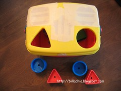 Fisher Price Brilliant Basics with masking tape
