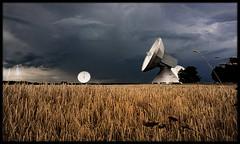 Listen to outer space (Gerald W. Photography) Tags: light sky germany landscape bayern deutschland bavaria licht nikon flash oberbayern feld land blitz gewitter 2009 korn countyside raisting d90 lichtstrahlen erdfunkstation