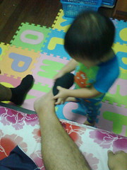 Daddy's Utusan..He removes the socks..