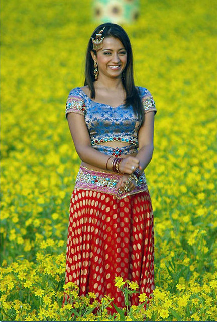 Desi Actress Trisha Krishnan among yellow flowers