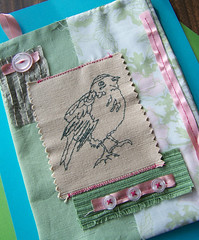 sweetpea - textile art (tjager) Tags: pink green bird art floral animal vintage drawing embroidery sewing mint textile fabric handsewn etsy raccooncat