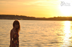 """We Are Never Frightened At A Sunset"" - 3/52 (Polly-Thomas) Tags: sunset orange selfportrait water girl cardiff redhead cardiffbay 50mmf18 52weeks niftyfifty nikond90"