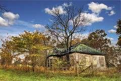 Lawson One-Room School (Uncle Phooey) Tags: autumn fall abandoned rural country scenic explore forgotten missouri weathered ozarks hdr ruraldecay dilapidated oneroomschool ruralschool southwestmissouri countryschool 5exphdr lawsonschool wrightcountymissouri unclephooey ravagedbytime scenicmissouri