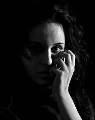 ... (DeLaRam.) Tags: lighting light portrait bw black eye girl hair blackwhite friend waiting hand iran angry miss delaram