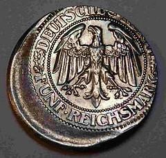 1929 Five Reichmark Off-Center error