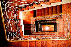 orange descent (dedecay) Tags: stairs zeiss sony velvia staircase alpha treppenhaus rosenheim alpha900