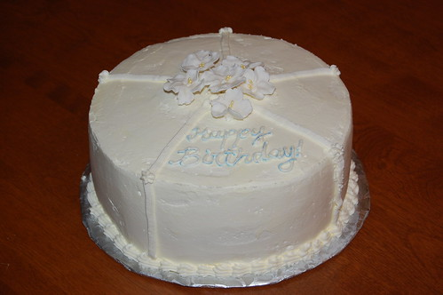 Simple White Cake with Gum Paste Flowers