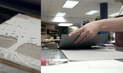 171/365 - September 28, 2009 (HarmonyHilderbrand) Tags: selfportrait tree paper stamp printing printmaking block 365 2009 printingpress treeroots handprinted bookarts handcarved project365 365days nikond80 365selfportrait 365portrait linoliumcut harmonyhilderbrand
