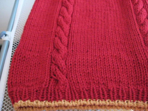 Red Vest, post extension--detail